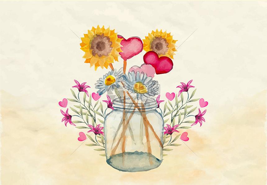 唯美图片 背景素材 手绘花瓶插画psd
