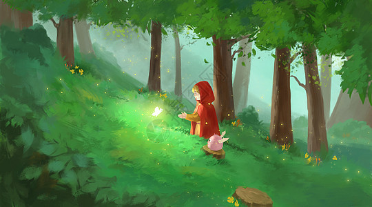 森林中的小红帽图片