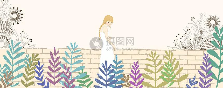 穿白裙子的女孩图片