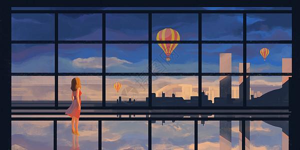 城市热气球场景插画图片