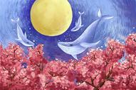 桃花花海飞鲸唯美背景图片