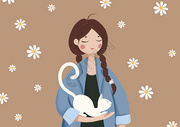 女孩与猫手绘插画图片