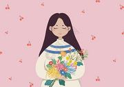 女孩与花手绘插画图片