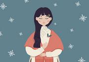 女孩与冬天手绘插画图片