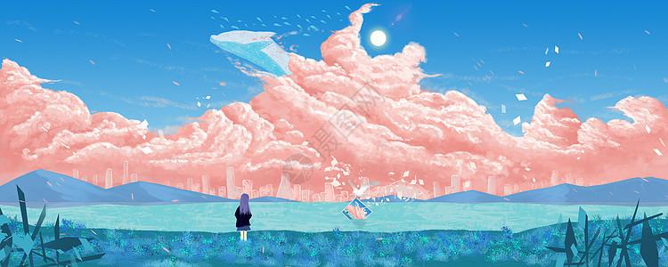 粉红色的梦插画图片
