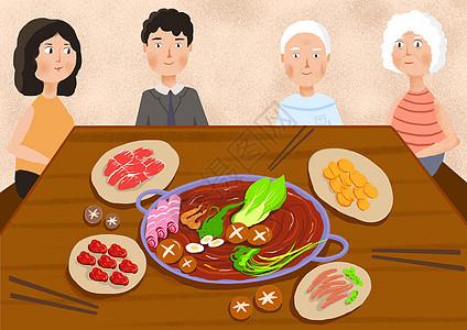 和家人吃火锅高清图片