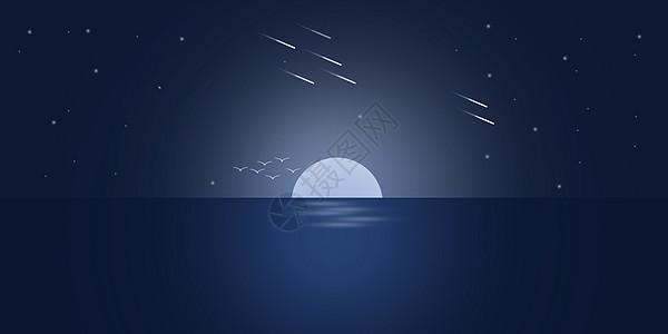 夜晚海边渐变风景插画高清图片