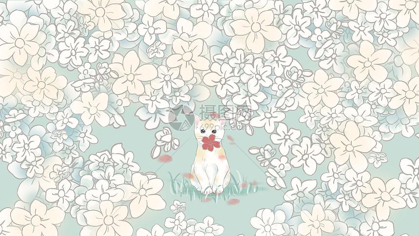 小清新手绘插画花丛中的猫图片