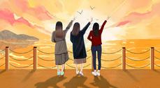 海边三个女孩的背影图片