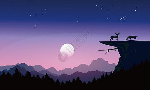 唯美夜晚风景插画高清图片