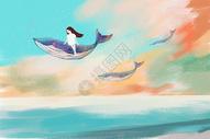 坐在鲸鱼上的女孩图片