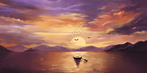 夕阳下的孤舟图片