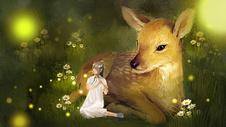 夜之精灵与小鹿图片