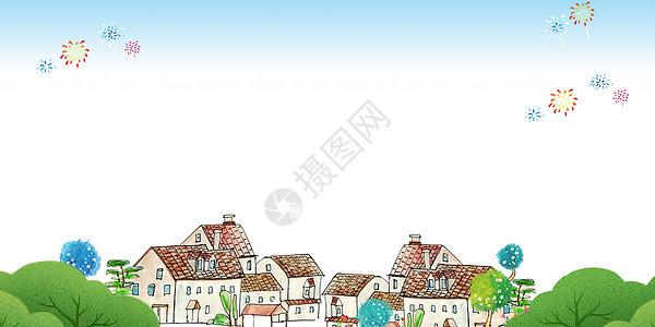 卡通画房子图片