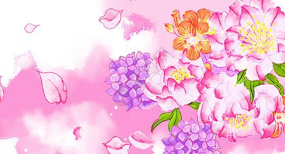 水彩花朵花瓣插画图片