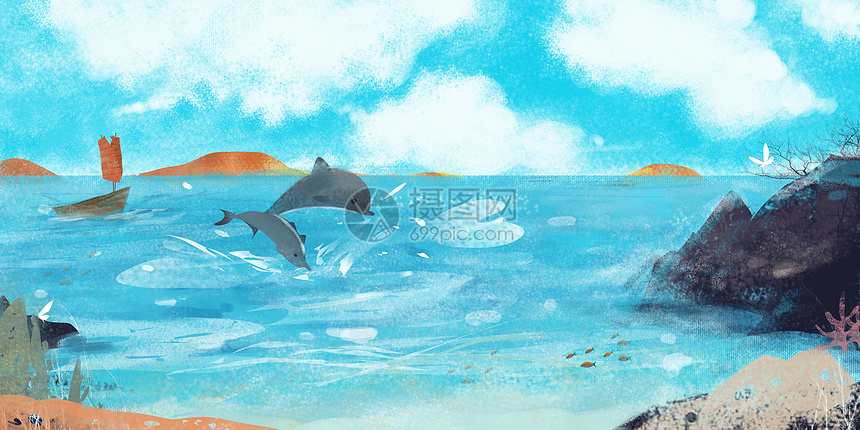 海景插画图片