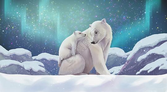 北极熊母子图片