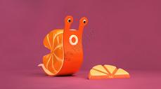 创意橘子蜗牛C4D场景图片
