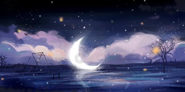 月亮雪景插画图片
