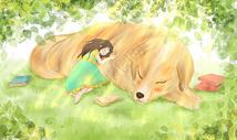 午睡女孩与狗温馨插画图片