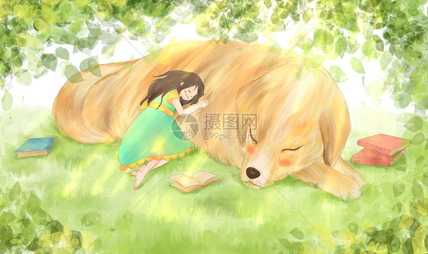 唯美图片 人物情感 午睡女孩与狗温馨插画psd  分享: qq好友 微信朋友