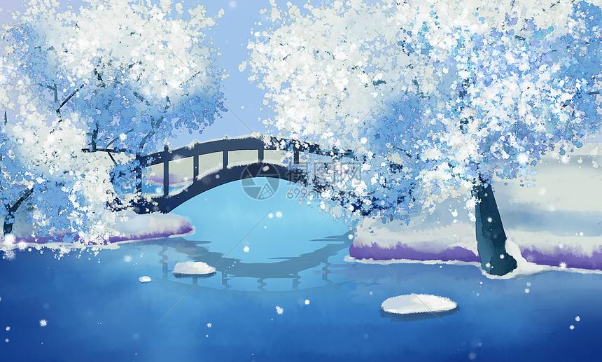 古风唯美雪景图图片
