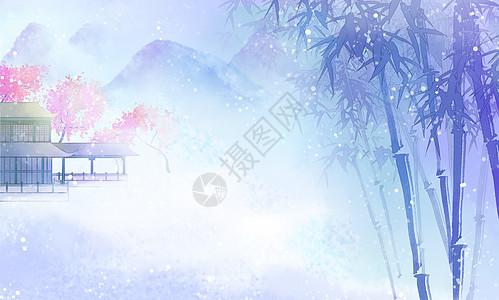 中国风唯美竹林背景图图片