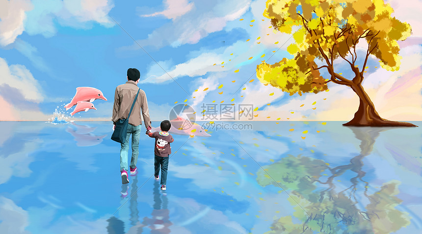 父亲牵着儿子漫步海豚世界图片