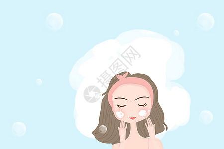 可爱洗脸女孩图片