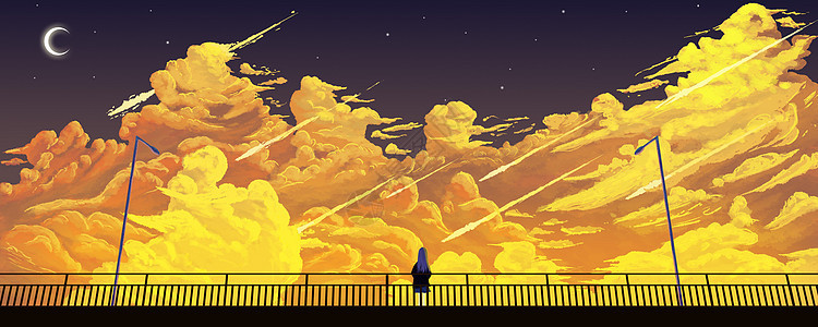 天桥上看云的少女插画图片