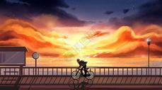 夕阳下的单车少年图片