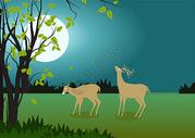 月光下的小鹿插画图片