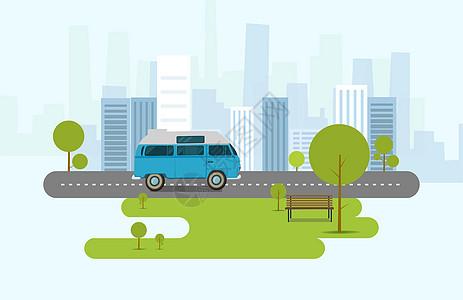 城市道路插画图片