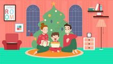 一家三口在家过圣诞节图片