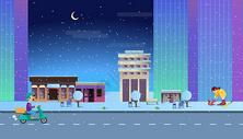 下雪的城市夜晚图片