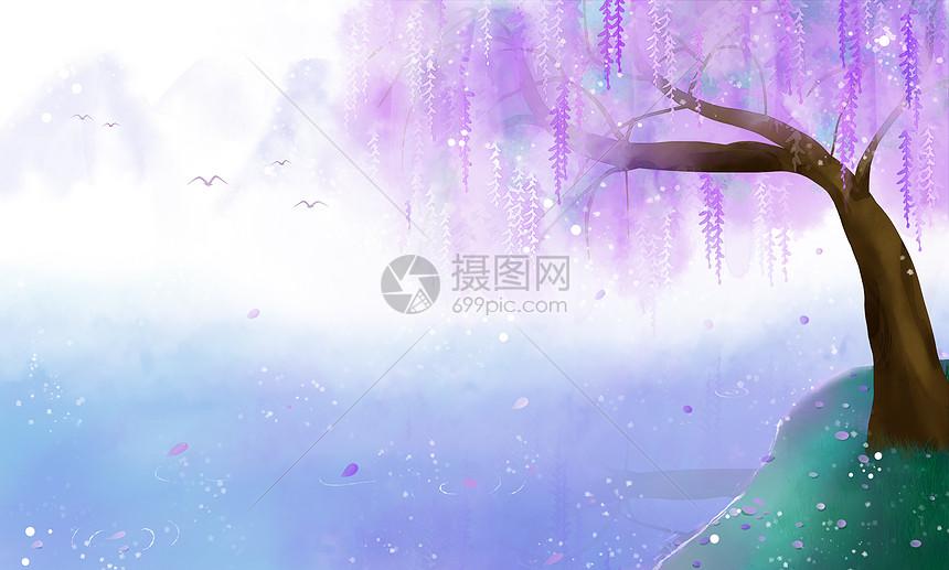 中国风唯美风景插画图片