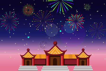 新年商店扁平化建筑图片