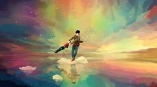 彩云梦幻中快乐玩耍的父子图片