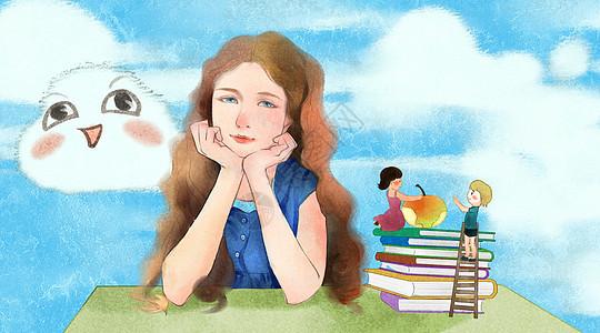 美丽可爱的棕发小女孩图片