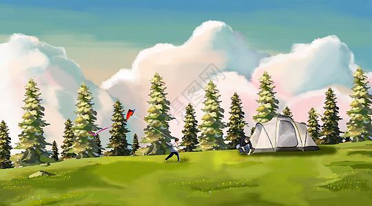 郊外搭帐篷的父亲和放风筝的儿子图片