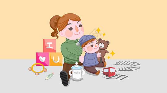 妈妈陪伴孩子人物插画图片
