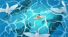 皮划艇下的鲸鱼群图片