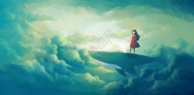 站在鲸背上的女孩图片