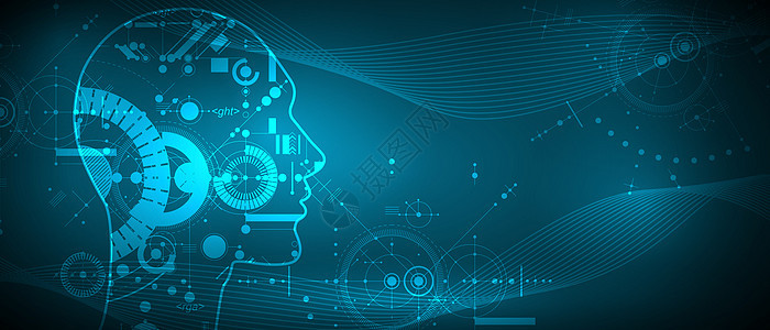 矢量人工智能机械科技背景图片