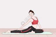 在做瑜伽锻炼的女孩图片