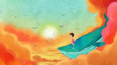 天空中骑着鲸鱼的女孩图片