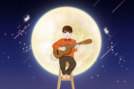 月中弹琴图片