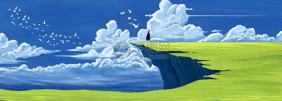 悬崖上的梦插画图片