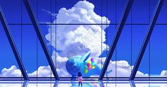 唯美天空海豚插画图片