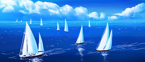 唯美海面帆船插画图片